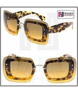 MIU MIU REVEAL Shield Square Sunglasses MU02RS Transparent Brown Havana 02R - $212.85