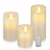 """Lafrie Flameless Candles Set of 3D3""""x H5/6/7 Realistic Flickering Batter... - $22.98"""