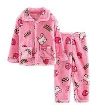 Flannel Kids Pajama Soft Sleepsuit Pink Rabbit Velvet Sleepwear Nightcloth - £22.12 GBP