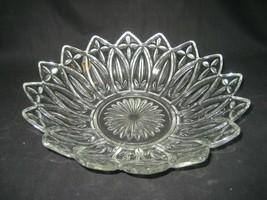"Vintage Crystal Federal Glass Dish Intricate Star Burst Design 10.5"" Diameter - $11.26"