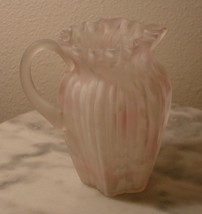 Northwood Satin Ribbed Pillar Pink and White Spatter Handled Creamer - $116.88