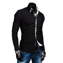Men Shirt Luxury Brand 2018 Male Long Sleeve Shirts Casual Solid Multi-B... - $32.20+