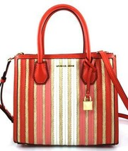 AUTHENTIC NEW NWT MICHAEL KORS $328 LEATHER MD MERCER RED WHITE TOTE CRO... - $168.00