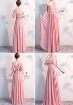 BLUSH Chiffon Bridesmaid Dresses Blush Pink Spaghetti Cap Sleeve Maxi Prom Dress image 6