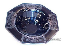 Imperial Large Centerpiece Console Bowl Black Glass Silver Overlay Fruit... - $49.99
