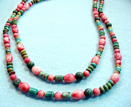 Turquoise and Pink Howlite Stone Necklace, Blue Gemstone Bead Necklace, ... - $55.00