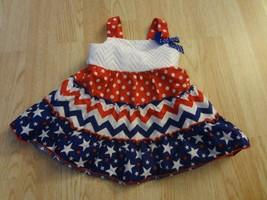 Infant/Baby Girls USA 12 Mo Dress Flag America Red, White & Blue Youngla... - $11.29