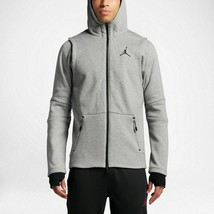 Nike Men's Jordan Shield Full-Zip Hoodie NEW AUTHENTIC Grey/Black 809486... - $94.49