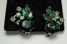 Light & Dark Green Rhinestone Clip on Earrings - $7.92