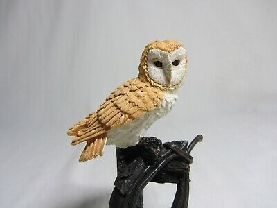 Bowbrook Studios Figurine Barn Owl on Horse Collar Post Vintage Resin England