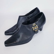Liz Claiborne Flex Black Leather Zip Up Square Toe Ankle Booties Size 8.5 - $11.88
