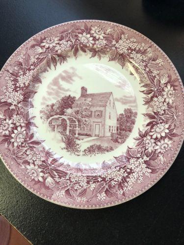 """Vintage Pink Wedgwood  of Etruria """"Scribner House"""" Dinner Plate 10-1/2"""""""