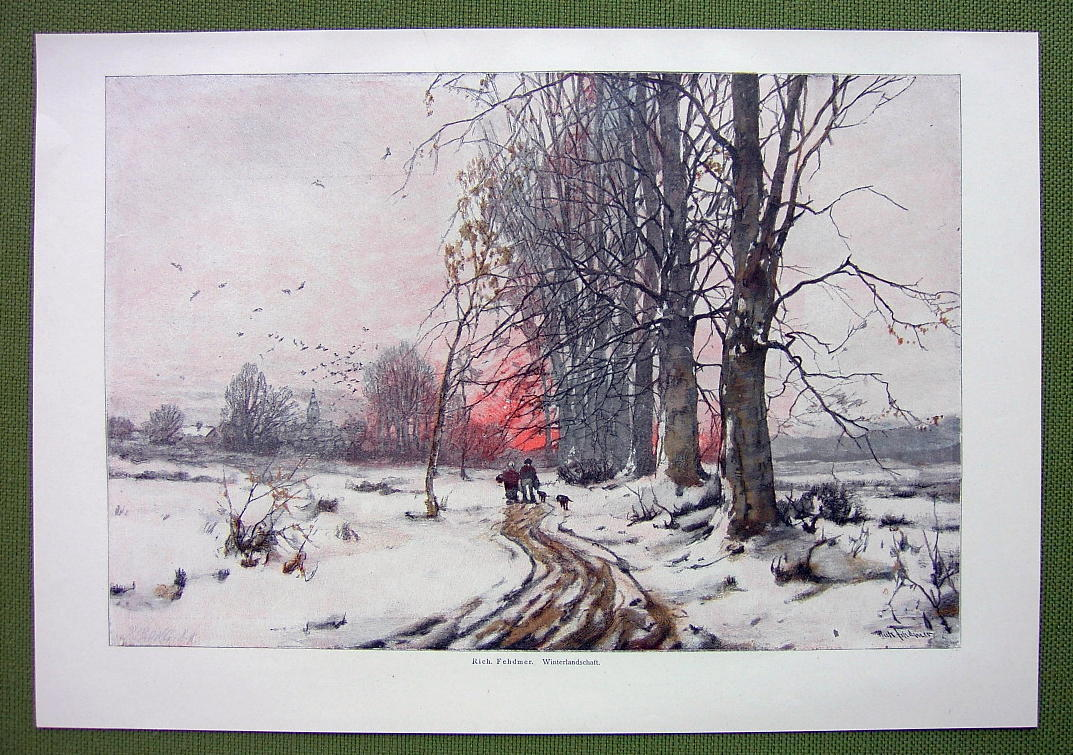 WINTER SOLITUDE Melancholic Sunset Snow - COLOR VICTORIAN Era Print Engraving