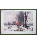 WINTER SOLITUDE Melancholic Sunset Snow - COLOR VICTORIAN Era Print Engr... - $16.20