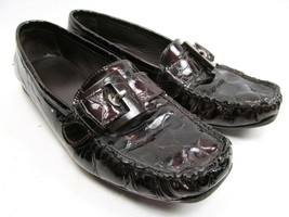 Stuart Weitzman Loafers Dark Brown Womens 6.5 Patent Leather Pre Owned - $15.67