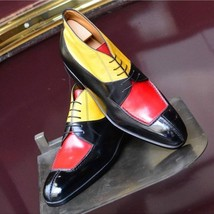 Handmade Men's Multi Color Lace Up Three Tone Dress/Formal Leather Shoes image 3