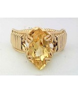 Faceted Citrine Gold Wire Wrap Ring sz 6.5 - $43.00