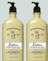 Bath & Body Works Aromatherapy Restore Body Lotion 6.5 oz New x2 Sage & ... - $34.45