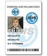 RAY GILLETTE FROM ARCHER ID NAME BADGE TAG PROP HALLOWEEN SAFETY PIN BACK - $13.85