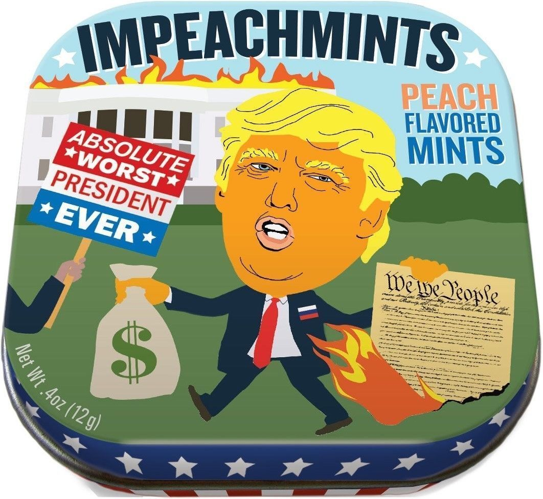 IMPEACHMINTS PEACH FLAVORED MINTS IN TIN UNEMPLOYED PHILOSOPHERS