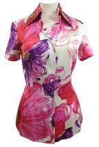 DOLCE & GABBANA Blouse Shirt Top Short Sleeve Button Down Flower Print 40 - $142.50