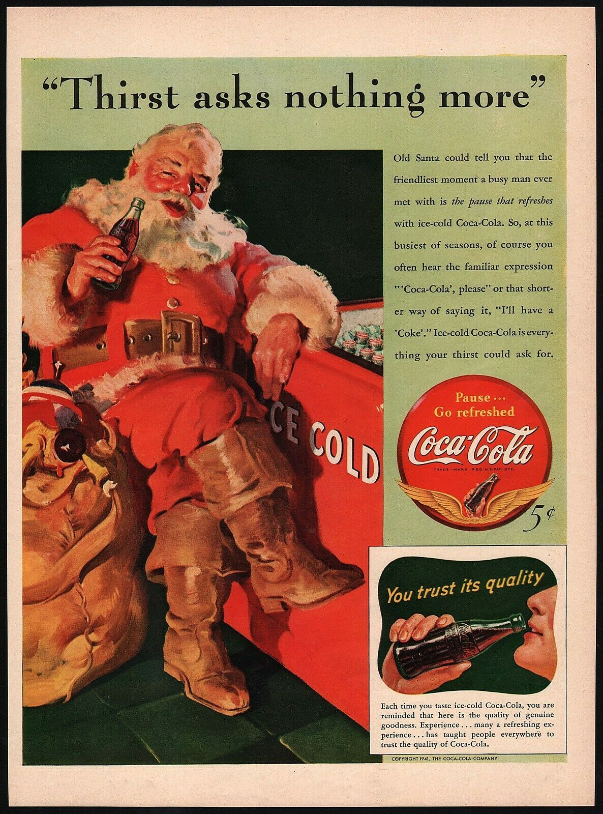 Primary image for Vintage magazine ad COCA COLA from 1941 Santa Claus pictured Haddon Sundblom art