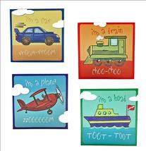 Transportation Canvas Prints - Car, Train, Plane, Boat 4 Pc Set - $69.99