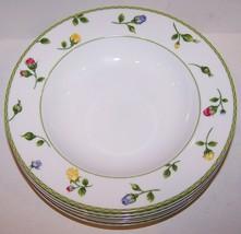 "Lovely Set Of 7 Studio Nova Porcelain English Garden 9"" Rimmed Soup Bowls - $42.56"