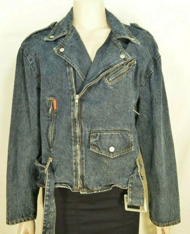Jordache jeans jacket SZ M denim moto style vintage zippers pockets belt dark image 12