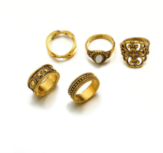 5 pcs/set Vintage Punk Rings Set Antique Silver Gold Color Flower - $9.99