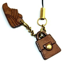 Auth Ferragamo Brown Wood Shoes & Bag Logos Gold Metal Cell Phone Strap ... - $94.09
