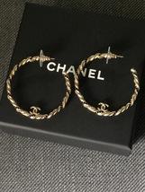 AUTH Chanel CC LOGO TWO TONE BLACK CRYSTAL TWIST HOOP EARRINGS GOLD