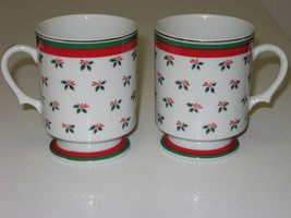 Lefton Christmas Holly & Berries 2 Footed Pedestal Mugs Cups - $19.99
