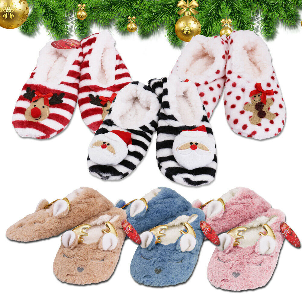 Women's 3 Pack Sherpa Lined Soft Christmas Holiday Reindeer Slippers Socks Shoes