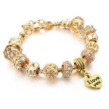 Heart Charm Bracelet For Women Gold Bracelets Bangles With Crystal Beads... - £13.68 GBP