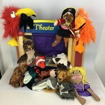 Lot of 15 Hand Puppets & Wooden Guidecraft Theatre Melissa Doug Ikea Kid... - $55.43