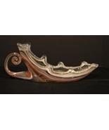 Orange ~White~Clear  Swirl Cornucopia Shaped Art  Glass Sculpture W / Ha... - $14.99
