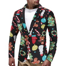 Christmas Snowmen Candy Tree Printed Casual Blazer(MULTI L) - $35.67