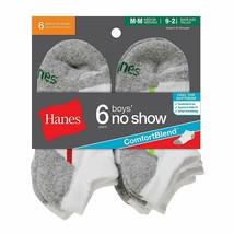 6-Pack Hanes Boys No-Show ComfortBlend Assorted Socks - Black or White -... - $13.29