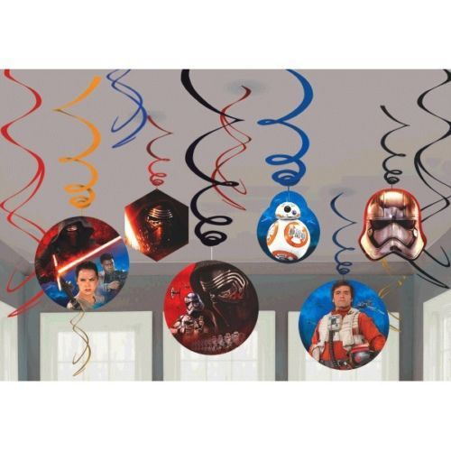 "Star Wars ""The Force Awakens"" VII 12 Swirl Value Pack party Hanging Decor"
