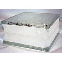 "Glass Block 8""x 8""x 4"" IceScapes Patteren 4"" White Border for Crafts/Hob... - $19.75"