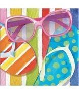 Beach Bliss 16 Ct Beverge Napkins Summer Pool Party Sunglasses Flip Flops - £2.34 GBP