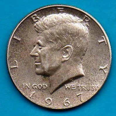 1967 Kennedy Half dollar Circulated Very Good or Better - Silver - $6.00