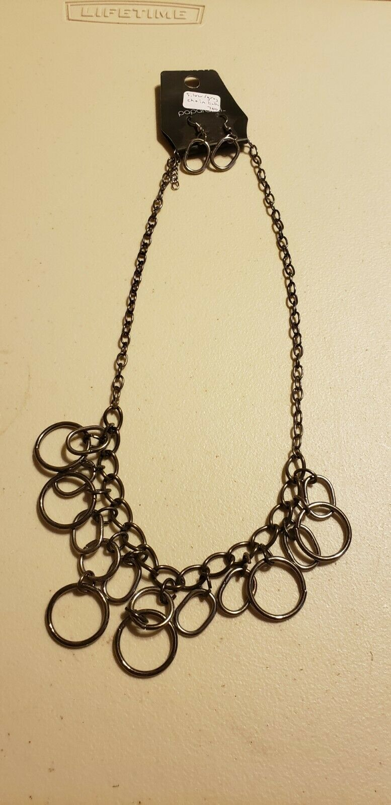 Paparazzi Short Necklace & Earring set (new) #740 SILVER/GRAY CHAIN LINKS - $7.61