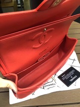 100% AUTH Chanel RARE Coral Red Lambskin Chevron Medium Double Flap Bag SHW image 6