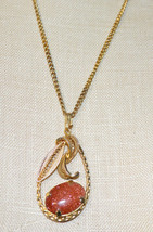Brown Goldstone Pear Shaped Flower Gold Tone Necklace Pendant Vintage - $24.74