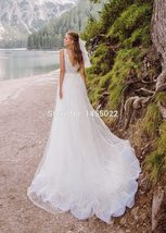Deep Beaded V-Neck  Beaded Appliques Mermaid Wedding Gown with Detachable Train image 2