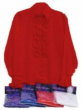 1970s RED SATIN SHIRT AND RUFFLES, DISCO, MENS FANCY DRESS COSTUME #US - $21.95
