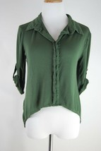 Green Paper Crane Hi-Lo Lace Back Knit Top - Roll Cuff Sleeves - Size S - $14.54