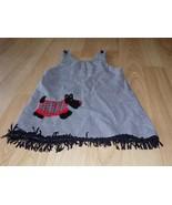 Size 5 Black White Houndstooth Print Jumper Dress Scottie Dog Fringe Tri... - $18.00